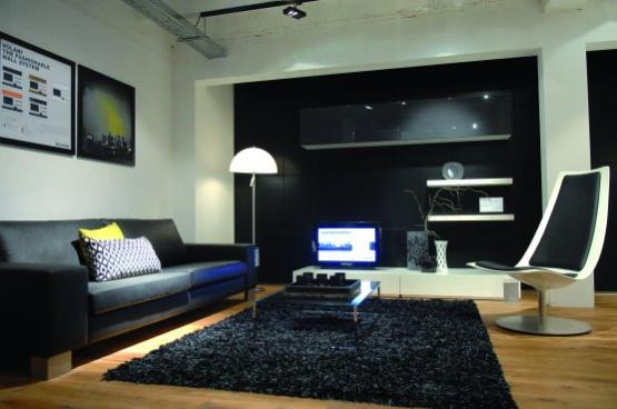 salon moderne avec du vert anis. Black Bedroom Furniture Sets. Home Design Ideas