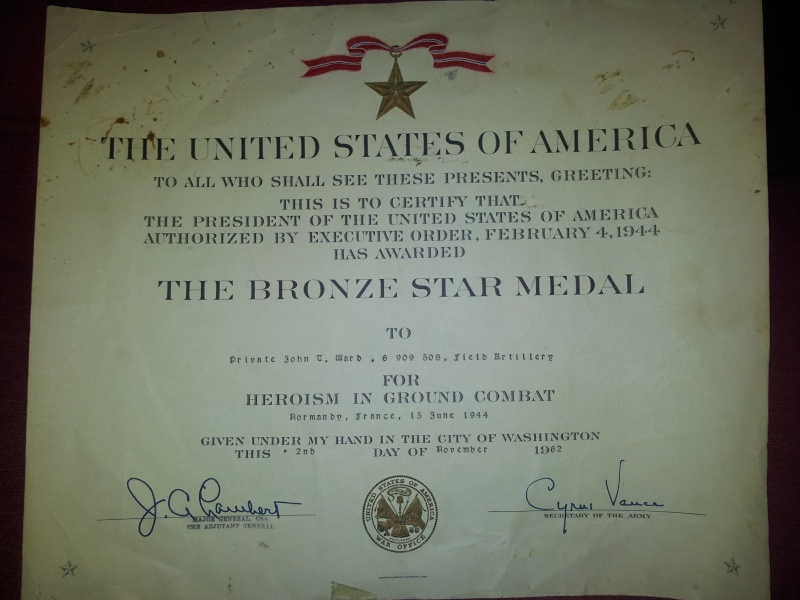 OMSA � View topic - WWII bronze star attributed in 1962