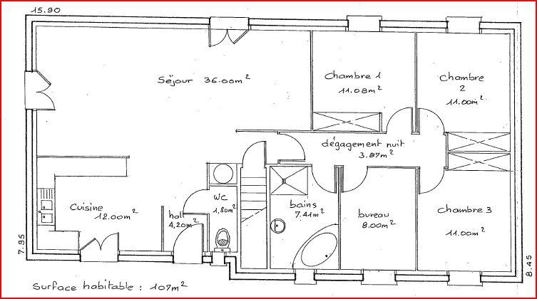 Avis sur plan maison plein pied sur sous sol 107m 28 - Plan maison plain pied avec sous sol ...