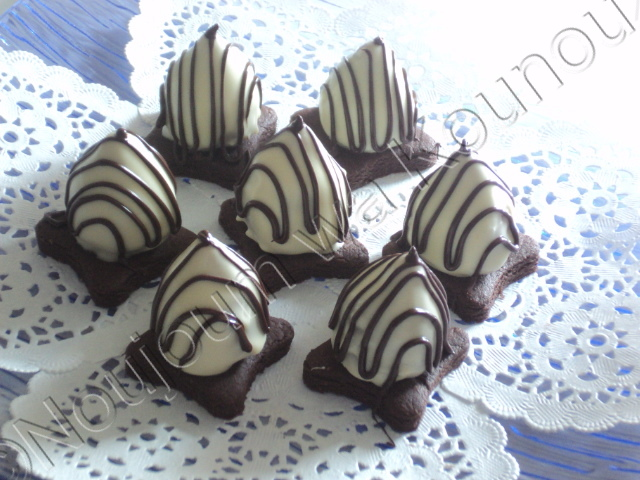Boules de cacahuètes sur sablés chocolatés avec emporte-pièce carreau boules26.jpg