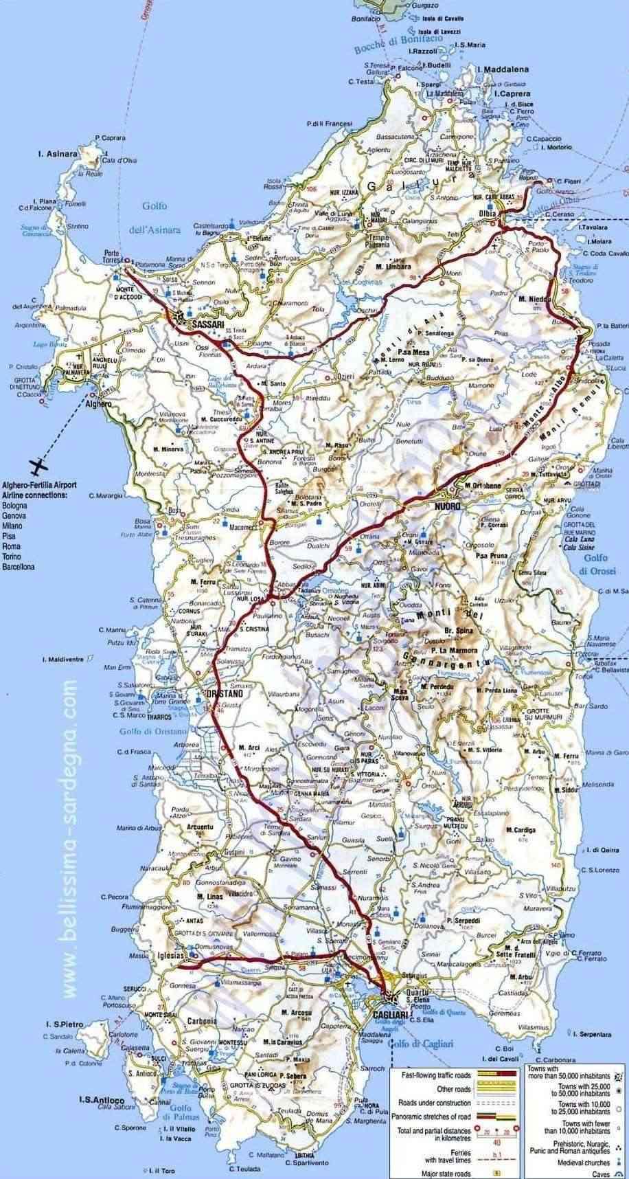 Cartina Sardegna Satellite.Cartina Stradale Sardegna Italia
