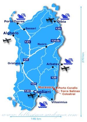 Cartina Sardegna Con Aeroporti.Come Arrivare In Isola Sardegna Italy Www Bellissima Sardegna It C