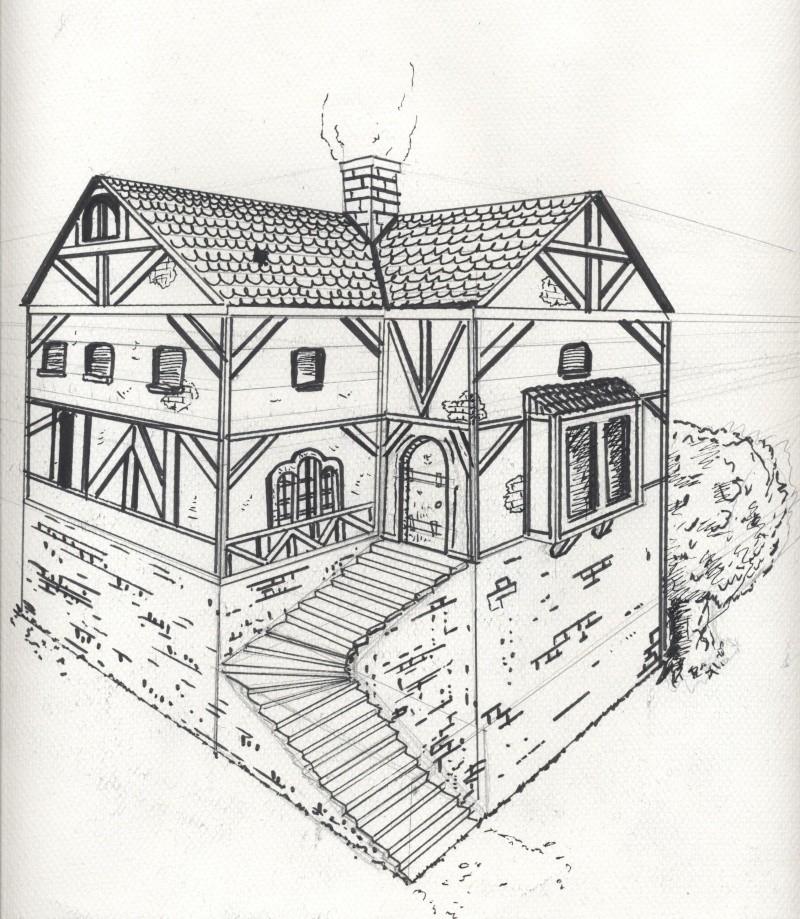 Dessin D Une Maison En Perspective : Illustration
