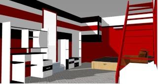 Chambre ado rouge et noir for Chambre mur rouge et noir