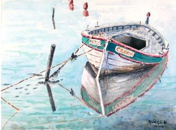 Pointus aquarelle sur papier sec de 38 x 28 cm for Restaurant le pointu toulon