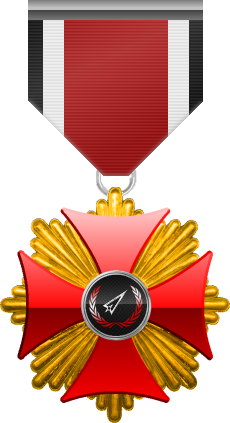 Gold level of Red Cross of the Silver Arrows - This award is given to a member who participated in a number of assignments in hostile territory. Gold level is the third of six.