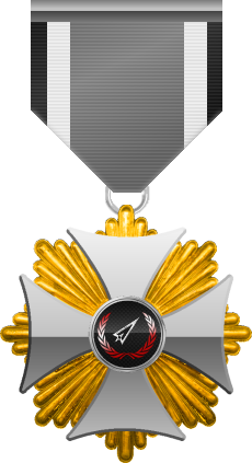 Gold level of Silver Cross of the Silver Arrows - This award is given to a member who distinguished in a number of Community Events. Gold level is the third of six.