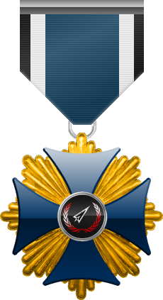 Gold level of Blue Cross of the Silver Arrows - This award is given to a member who participated in a number of assignments in friendly territory. Gold level is the third of six.