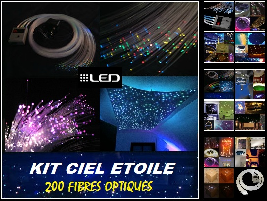 kit fibre optique ciel toil led. Black Bedroom Furniture Sets. Home Design Ideas
