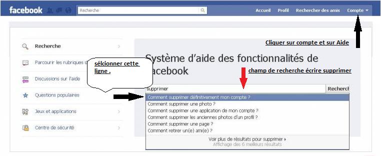 Comment supprimer d finitivement son compte facebook forum d 39 entraide i - Comment rester connecter sur facebook ...