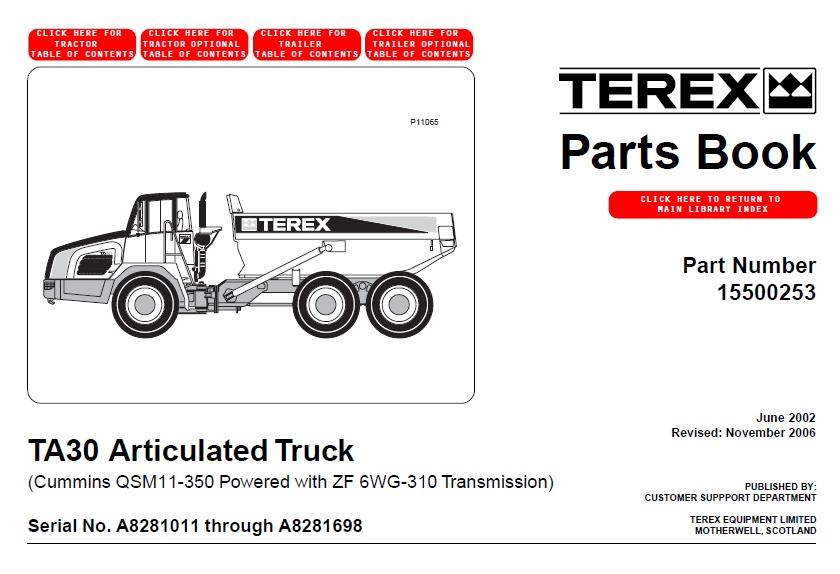 terex ta30 articulated truck parts book auto repair. Black Bedroom Furniture Sets. Home Design Ideas