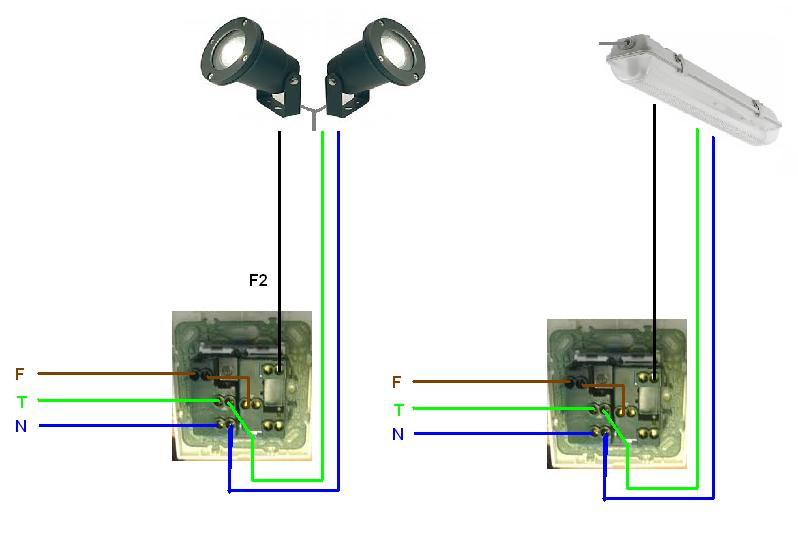 Schema Collegamento Neon In Serie : Collegamento tra presa da esterni a plafoniera con tubo al
