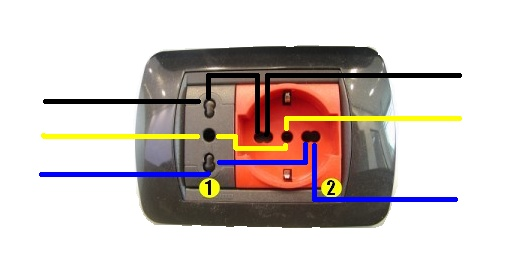 L 39 immagine rappresenta il collegamento elettrico di entra for Presa schuko collegamento cavi