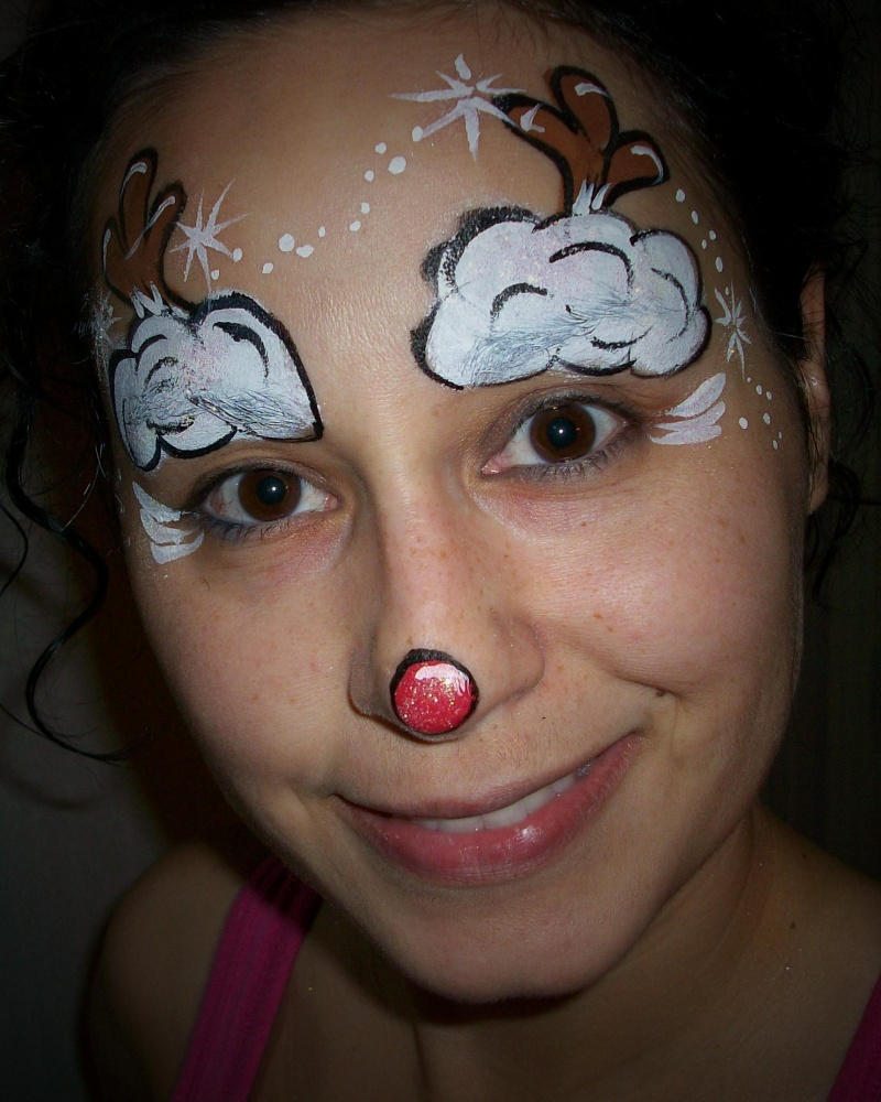Reindeer face painting designs up christmas designs