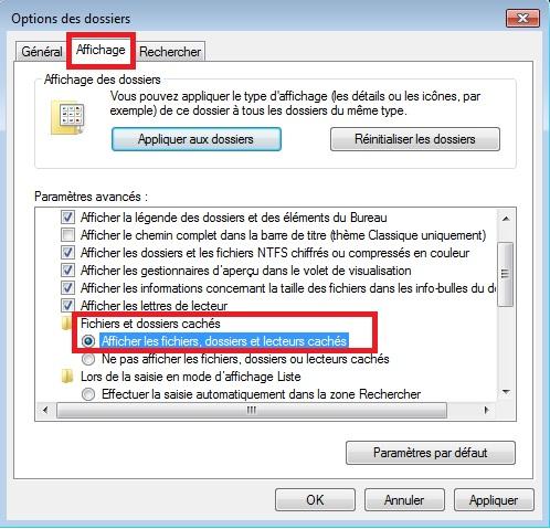 comment trouver un dossier cache windows 7