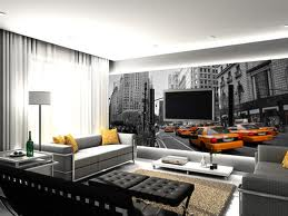Peinture et d co salon moderne new york for Decoration murale geante new york